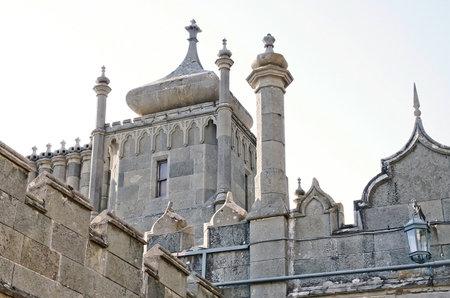 vorontsov: Architectural landmark - Tower East side of the Vorontsov Palace in Alupka, Yalta, Crimea