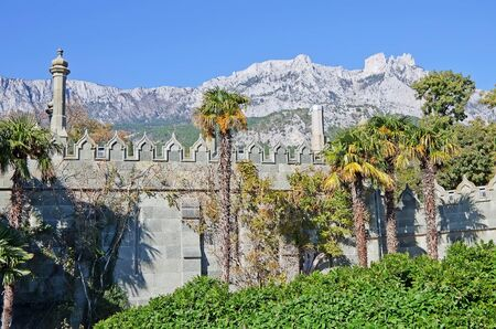 vorontsov: Wall and Park Vorontsov Palace in Alupka on the background of mount AI-Petri