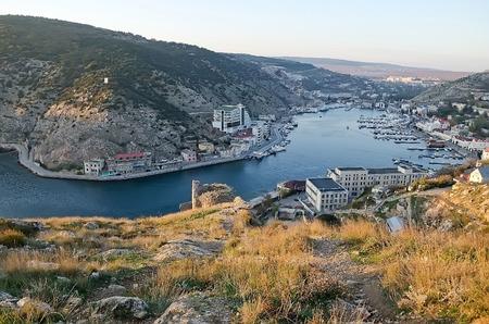 hight: General view of Balaklava from hight. Sevastopol, Crimea.