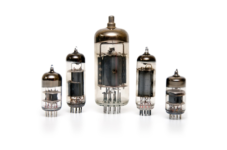 triode: Retro vacuum tube isolated on white background
