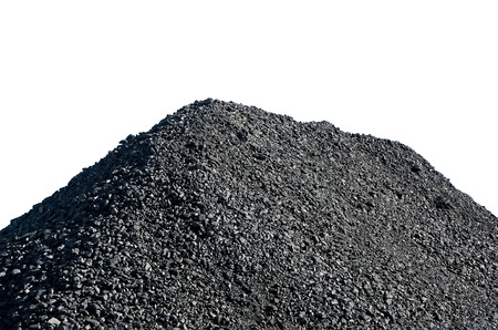 Pile of black coal isolated over white