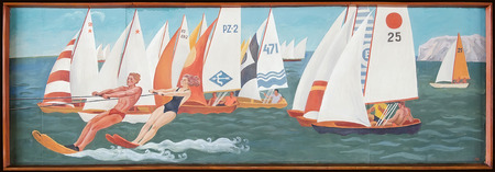 shipbuilder: KERCH, CRIMEA, RUSSIA - JUNE 07: Retro painting in the lobby of the House of culture Shipbuilder, which depicts a sailing regatta on June 07, 2015 in Kerch, Crimea, Russia. Author unknown Editorial