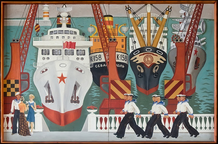 shipbuilder: KERCH, CRIMEA, RUSSIA - JUNE 07: Retro painting in the lobby of the House of culture Shipbuilder, which shows the ships in port on June 07, 2015 in Kerch, Crimea, Russia. Author unknown