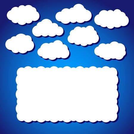 beaux paysages: Beau paysage - nuages ??cotonneux blancs sur le fond de ciel bleu dans le vecteur