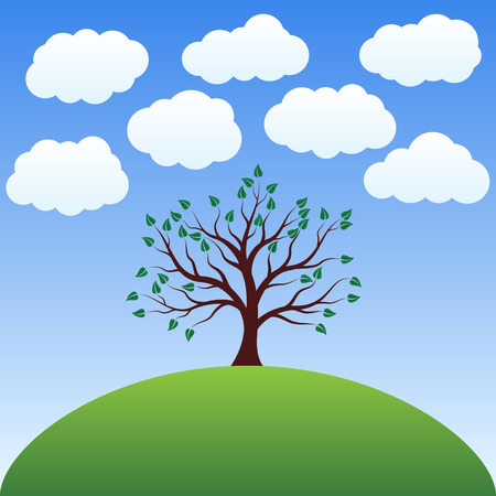 lonely tree: Beautiful landscape - Lonely tree on a hill under the clouds in the vector