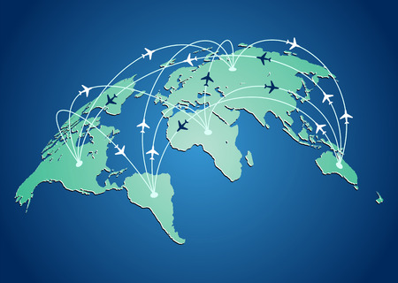 flight: World map with flight routes airplanes in vector