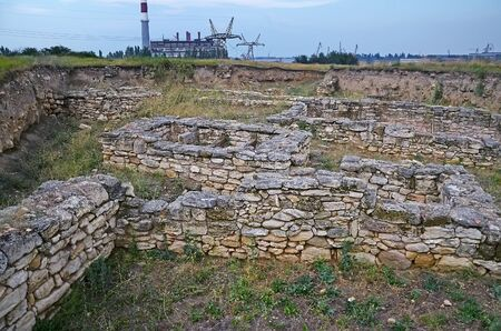 excavations: Excavations of the ancient city Tyritake in Kerch Stock Photo