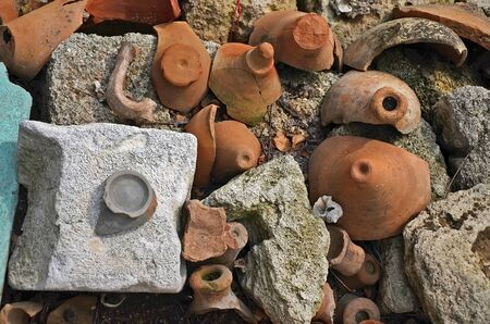 excavations: Excavations of the ancient city - Fragments of antique jugs close-up