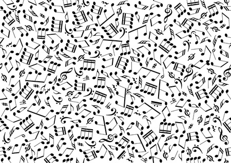 Seamless background consisting of the symbols of musical notes in vector. Isolated over white Ilustração