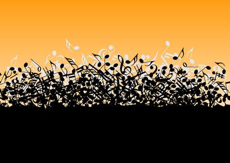 simbolos musicales: El caer en un mont�n de notas musicales en el vector