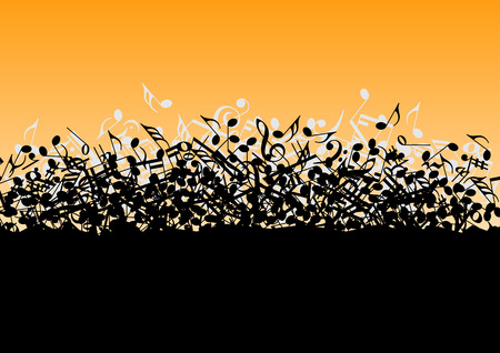 abstract melody: Falling in a bunch of musical notes in vector Illustration