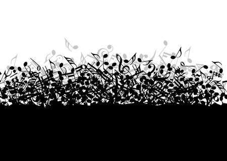 notas musicales: El caer en un mont�n de notas musicales en el vector
