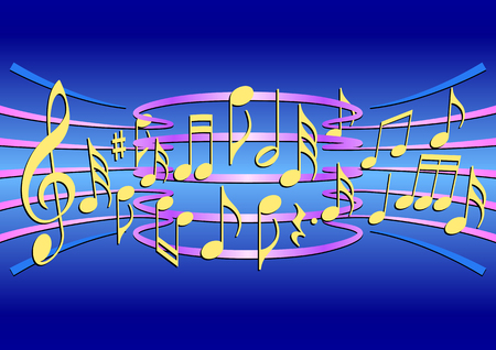 stave: Colorful musical notes on a stave in the vector Illustration