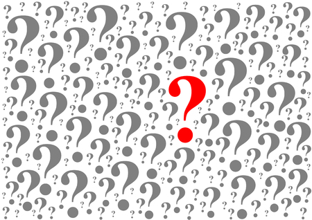hes: Background consists of many question marks isolated on white background in vector. One of the question marks stands out - hes red.