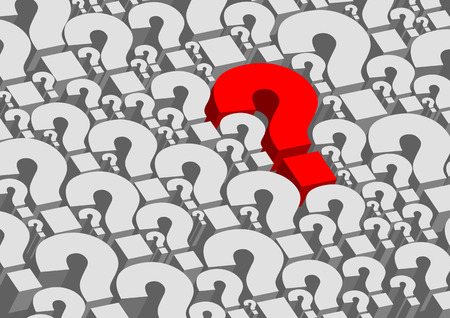 question marks: Background consists of many question marks in vector. One of the question marks stands out - hes red.