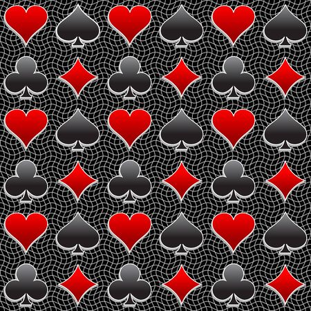 play card: Seamless background consisting of play card suit in vector