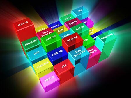 indices: Bisnes illustration - Major world stock market indices in 3D