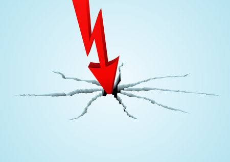 quotations: Red arrow breaks the surface in vector. The metaphor of falling of quotations or financial business indicators Illustration