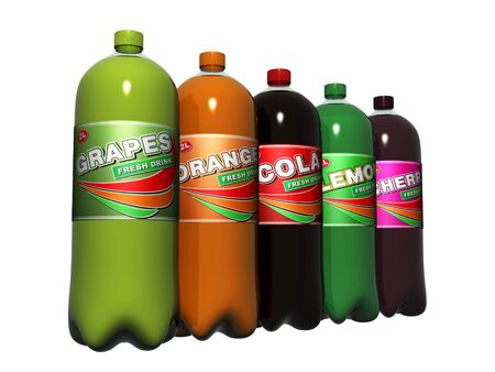 carbonated: Bottle carbonated non-alcoholic beverages isolated over white Stock Photo