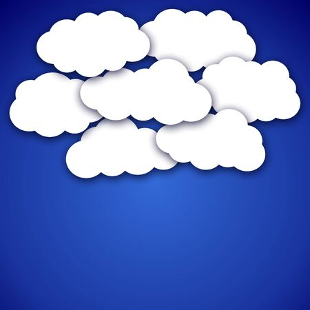 fluffy clouds: Beautiful scenery - white fluffy clouds on the blue sky background in vector