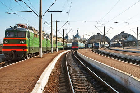 lvov: Trains at the railway station in Lvov, Ukraine