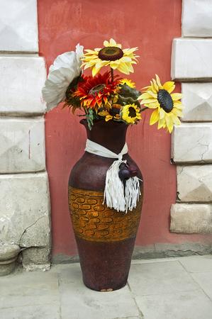 lvov: Vase of flowers on the streets of Lvov, Ukraine