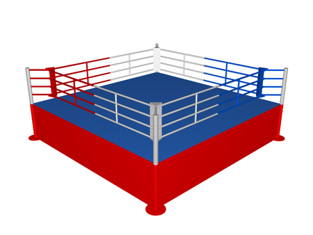defeated: Red-blue boxing ring in 3D closeup isolated over white