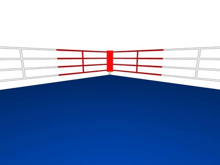 Corner of a Boxing ring in 3D closeup isolated over white