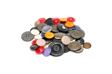 clothing buttons: Old clothing buttons isolated on white background