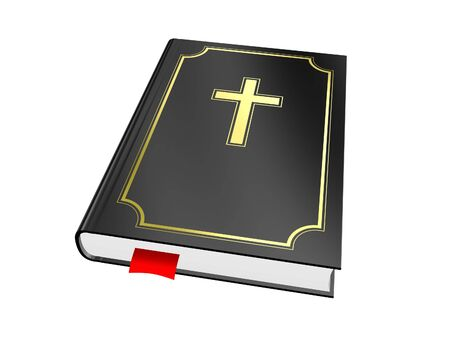 gold cross: Black bible with gold cross isolated on white background