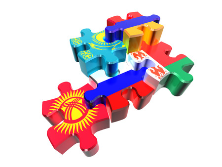 eurasian: Puzzle - Symbol of the Eurasian Customs Union (EACU) in perspective. Economic Union countries: Russia, Belarus, Kazakhstan, Armenia, Kyrgyzstan. Isolated over white