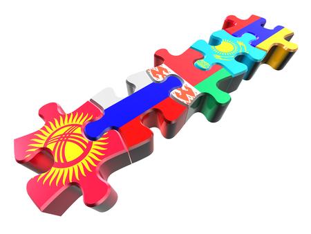 eurasian: Puzzle - Symbol of the Eurasian Customs Union (EACU). Economic Union countries: Russia, Belarus, Kazakhstan, Armenia, Kyrgyzstan. Isolated over white Stock Photo