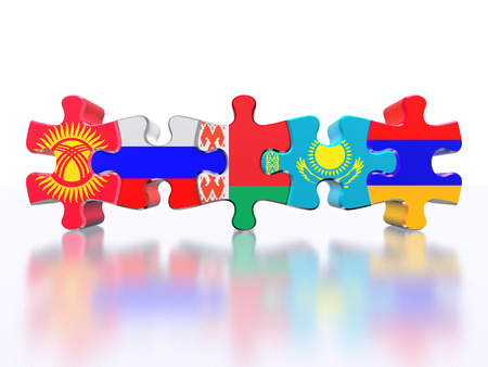eurasian: Puzzle - Symbol of the Eurasian Customs Union (EACU). Economic Union countries: Russia, Belarus, Kazakhstan, Armenia, Kyrgyzstan. Isolated over white Stock Photo