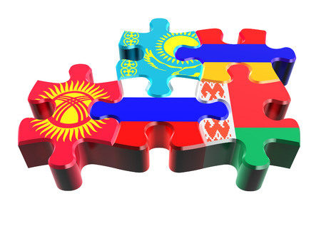 customs: Puzzle - Symbol of the Eurasian Customs Union (EACU) in perspective. Economic Union countries: Russia, Belarus, Kazakhstan, Armenia, Kyrgyzstan. Isolated over white