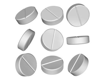 pastillas: Conjunto de p�ldoras m�dicas en 3D aislados sobre un fondo blanco Foto de archivo