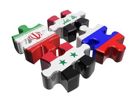 iraq conflict: Puzzle - Anti-terrorist coalition in Syria isolated over white. Flags of Russia, Syria, Iraq, Iran
