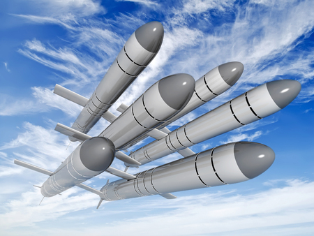 Russian cruise missiles Caliber flying against the clouds