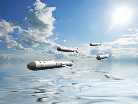 Russian cruise missiles Caliber flying over the surface of the sea