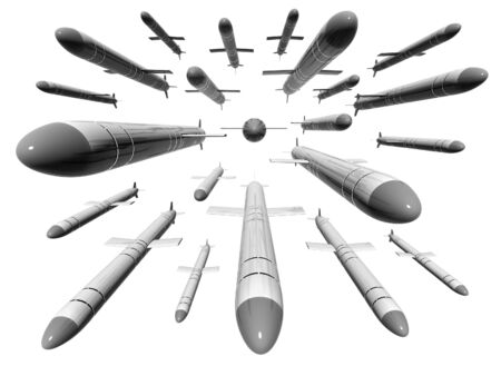 Russian cruise missiles Caliber isolated on white background Stock Photo