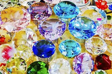 crystal background: Background of treasure  - Many multi-colored diamond crystal closeup