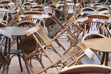 fast food: Tables and chairs in empty (nobody) restaurant Stock Photo