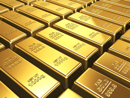 shiny gold: Business background - Gold bars closeup in stack