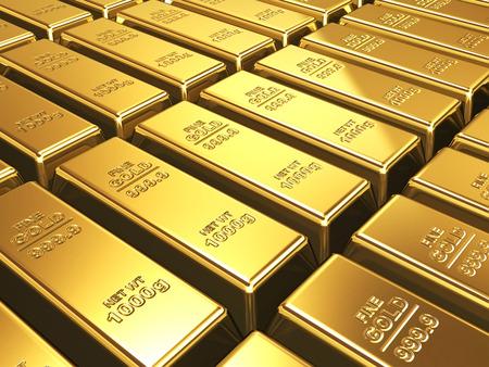 Zakelijke achtergrond - Gold bars close-up in de stack