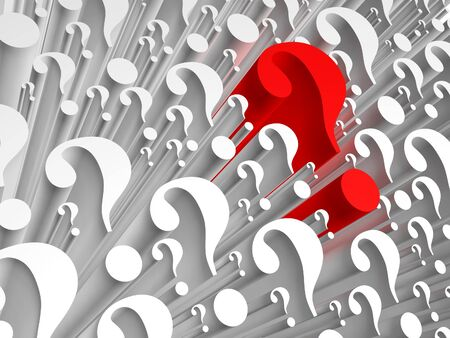 Background consists of many question marks. One of the question marks stands out - hes red. Stock Photo