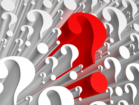 question marks: Background consists of many question marks. One of the question marks stands out - hes red. Stock Photo