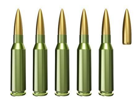 kalashnikov: Combat cartridge Kalashnikov gun isolated on a white background Stock Photo