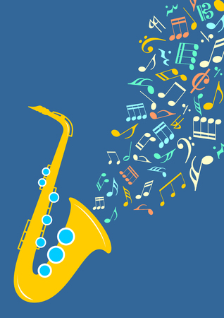 departing: Graphic illustration - Notes departing from saxophone in vector