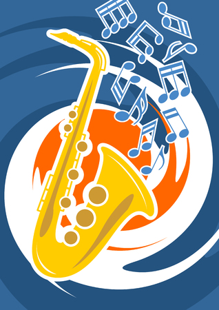 playbill: Illustration in vector - Template music posters depicting a saxophone and musical notes Illustration