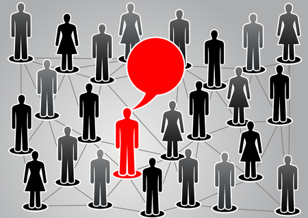 boycott: Men and women united in the network in vector. One person stands out from the crowd