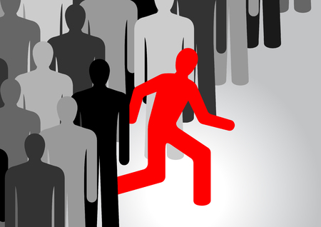 one person: Running people in vector. One person stands out from the crowd Illustration